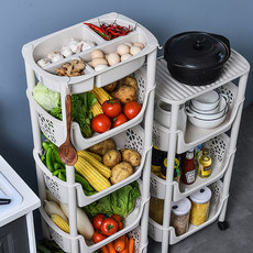Multi-layer floor kitchen shelving vegetable rack supplies toy storage basket storage baskets household artifacts Daquan