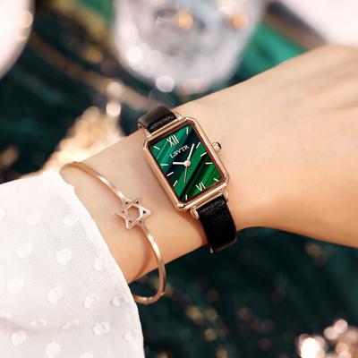 手表女简约气质ins风轻奢女表复古孔雀石纹理小方盘正品小绿表