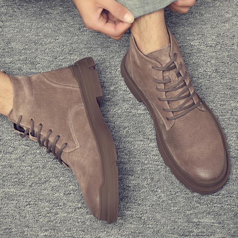 马丁靴男高帮加绒保暖棉鞋工装英伦风潮男靴中帮战术靴子冬季男鞋