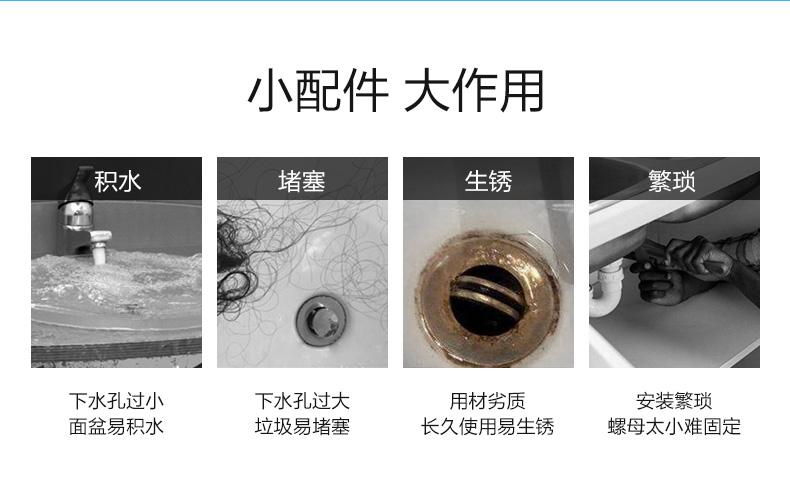 九牧面盆洗脸盆下水器臺盆洗手池防臭漏水塞下水管排水配件落水器详细照片