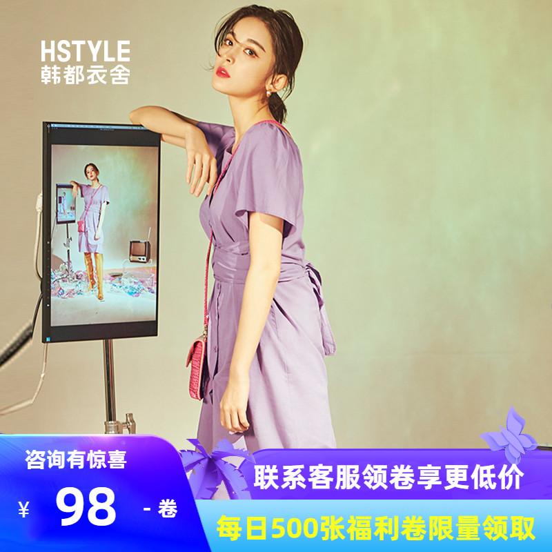韩都衣舍2019夏新款娜扎明星同款连衣裙女紫色韩版收腰气质v明星裙