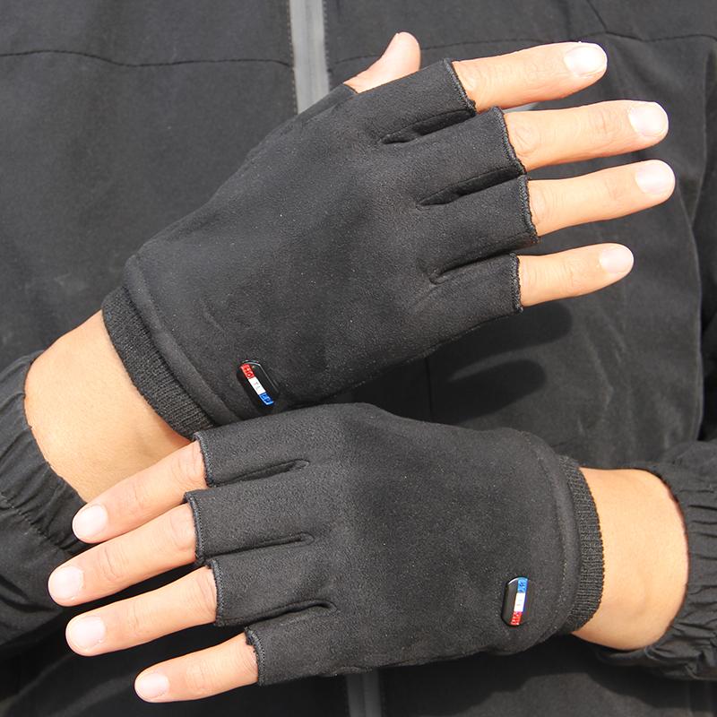 限100000张券男士麂皮绒冬季保暖半指手套女冬天骑车开车半截加绒露指防滑手套