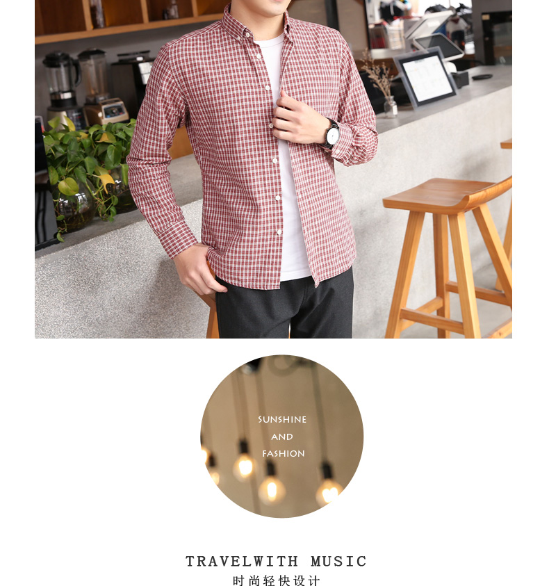 Pure cotton small plaid shirt men's long-sleeved Korean version of the tide brand casual inch clothes spring men's slim handsome shirt jacket 61 Online shopping Bangladesh