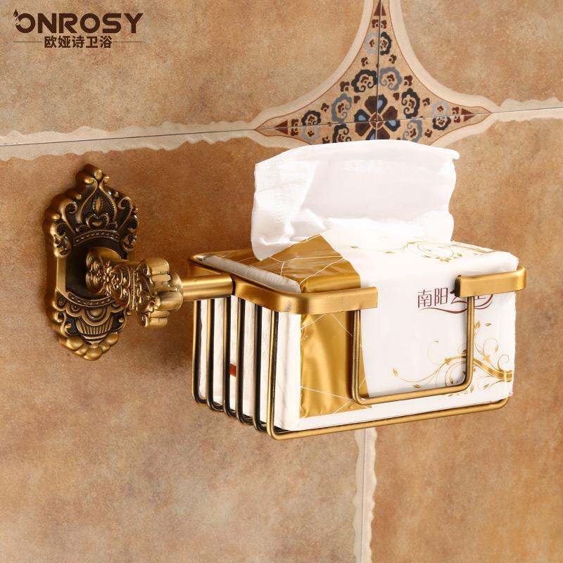 免仿古卫生间置物架壁挂太空铝卷纸厕纸架欧式纸巾打孔浴室篓