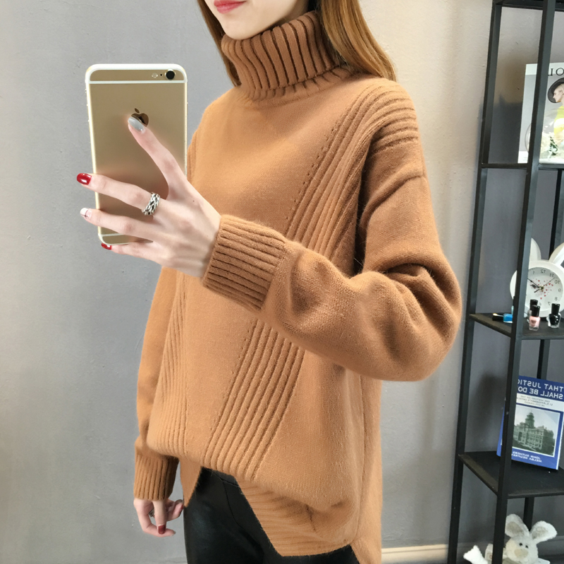75d19203fb Autumn and Winter new loose high collar pullover women s long section Korean  knit sweater thickening women s tide