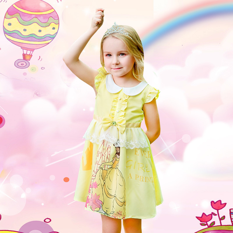 ffa9c57e81b Yongli children skirt girls dress short-sleeved summer dress female baby  skirt summer yellow children Belle princess dress