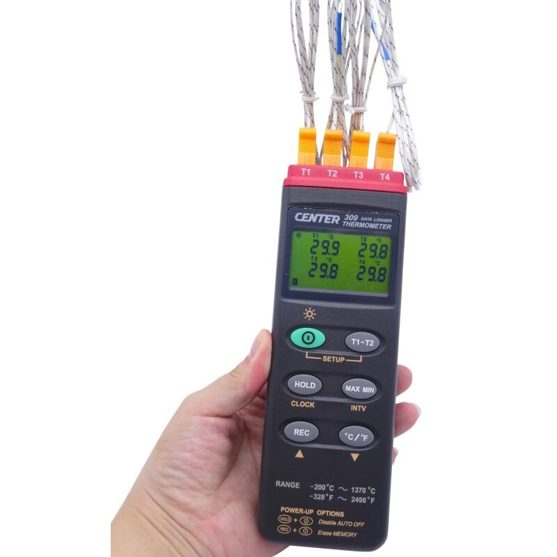 Four Channel Thermometer Four Channel Temperature Recorder RS232 Curve  Furnace Temperature Tester CENTER-309