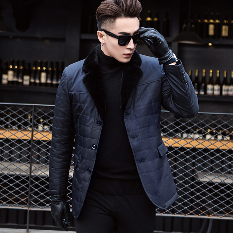 Middle-aged cotton-coated men's winter coat hare fur grass lamb lamb velvet collar business thickening brand Ni overcome men's wear