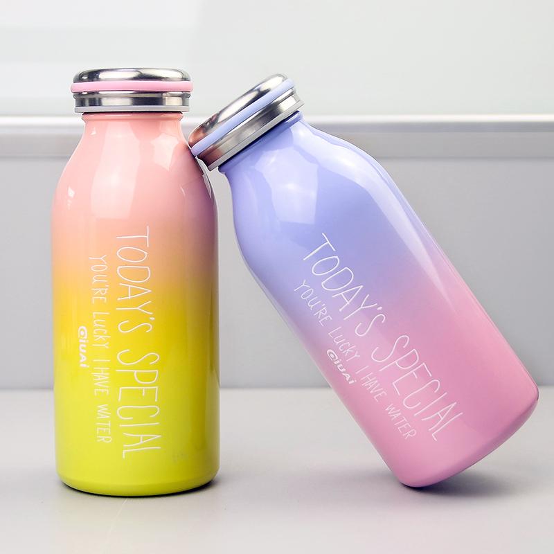 <font color='red'><b>牛奶</b></font>瓶保温杯渐变色韩版简约随手杯