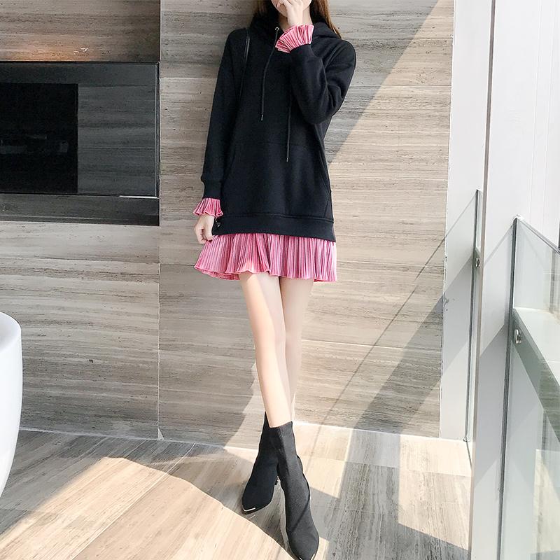 2017新款韩版连帽卫衣女加厚加绒冬季中长款百褶拼接保暖上衣外套