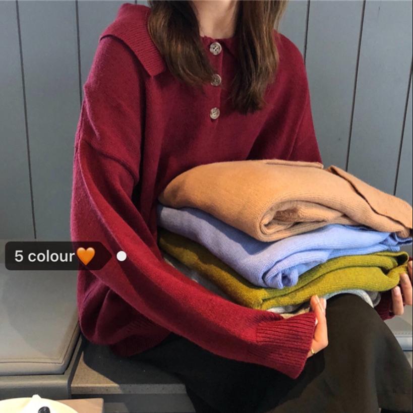 韩版秋装慵懒风复古宽松POLO领长袖纯色套头打底针织衫学生毛衣女