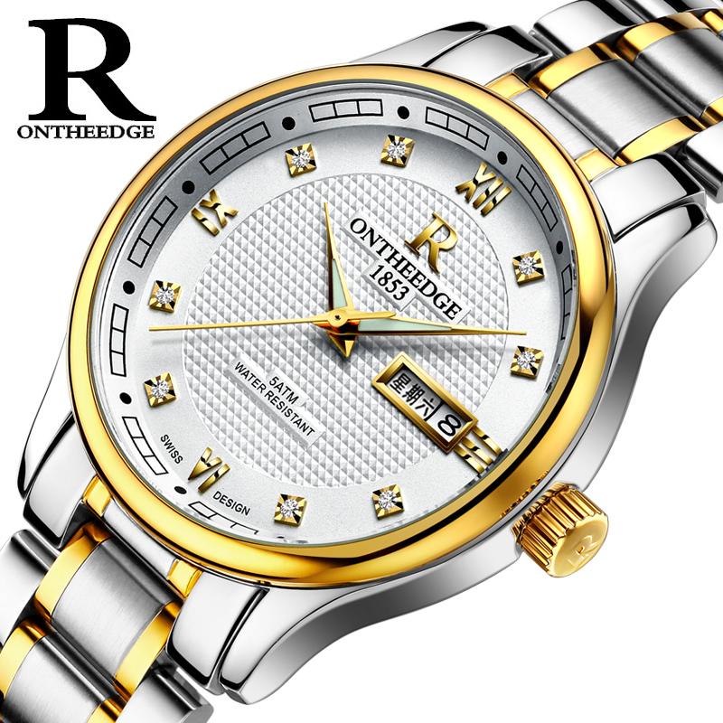 男士手表防水女士带精钢带男女腕表超薄手表真皮正品学生男表石英