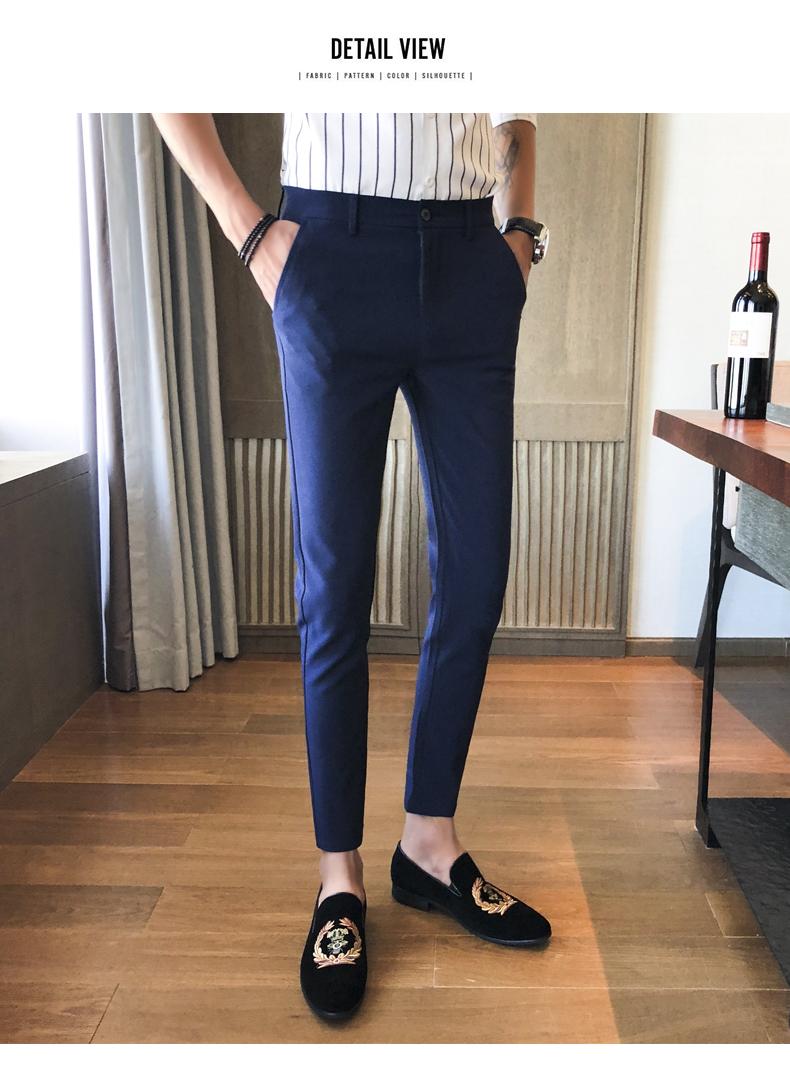 Mùa xuân mới màu đen quần dài quần âu nam giới của Hàn Quốc thanh niên chân quần nam tự trồng chín điểm xu hướng quần
