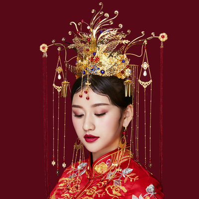 Chinese Bride Headdress Simple Xiuhe Costume, Ancient Dress, Palace Liushu Hair Ornament, Wedding Hair Ornament