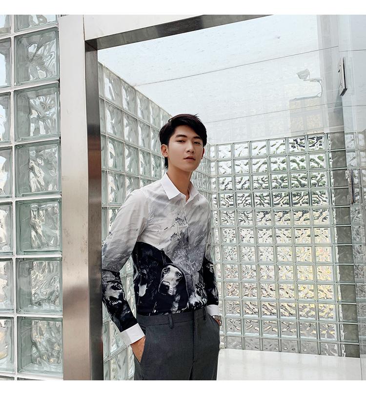 Horizon men's four seasons cotton straight spray animal print slim personality shirt long-sleeved casual shirt youth 39 Online shopping Bangladesh