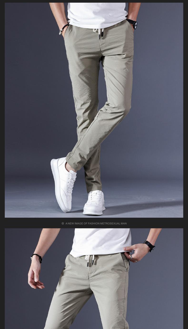 Băng lụa quần nam siêu mỏng mùa hè thoáng khí bó sát nam stretch Hàn Quốc phiên bản của xu hướng của đôi chân mỏng quần âu