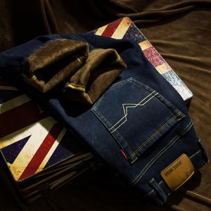冬季加绒加厚男士弹力修身牛仔裤男直筒宽松冬天带绒牛子裤长裤子