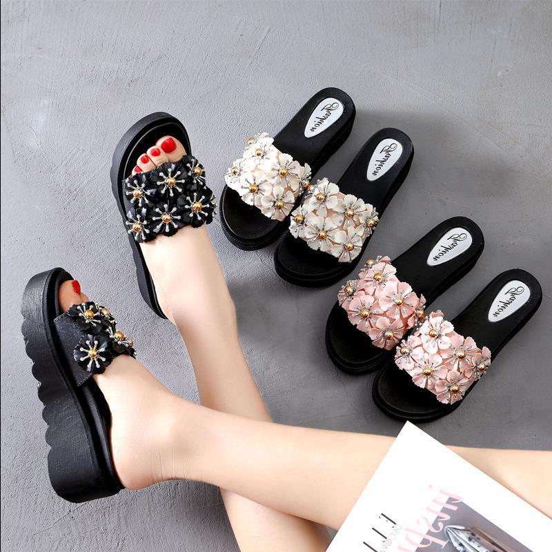韩版厚底坡跟拖鞋女夏拖鞋外穿软底松糕底一字拖时尚女增高凉凉鞋