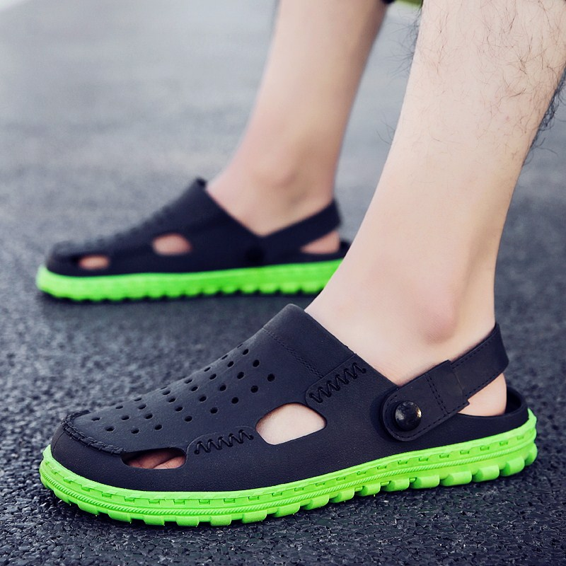 48331dab9 2019 new cool slippers male trend Korean version of the beach shoes male  summer outdoor personality hole shoes men sandals men