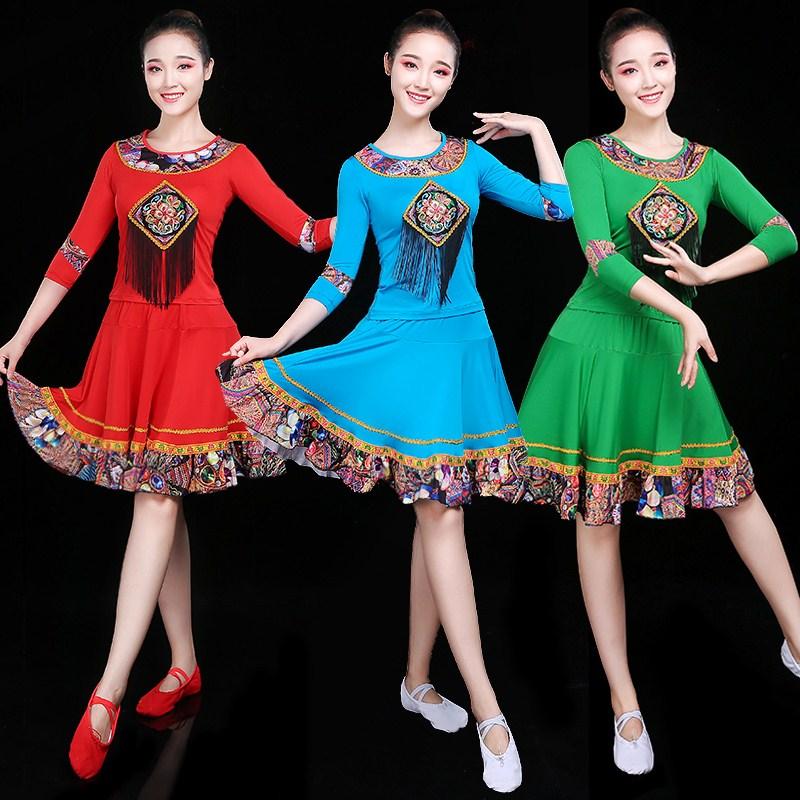 现代舞蹈演出服女广场短裙舞民族新款套装2019中老年服装风成人
