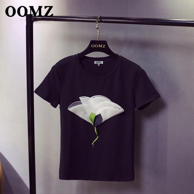 2020夏季新款花朵风学院刺绣黑色纯色短袖立体百搭打底t恤女潮