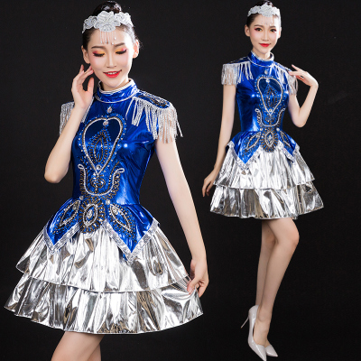 Jazz Dance Costumes Modern Dance Costume Jazz Dance Costume Blue Sequin Square Adult Female Opening Dance Short Skirt Suit
