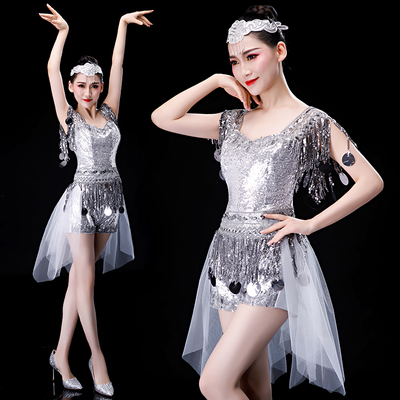 Jazz Dance Costumes Modern Dance Costume Jazz Dance Costume Sexy Night Club Latin Short Skirt Suit for Adults