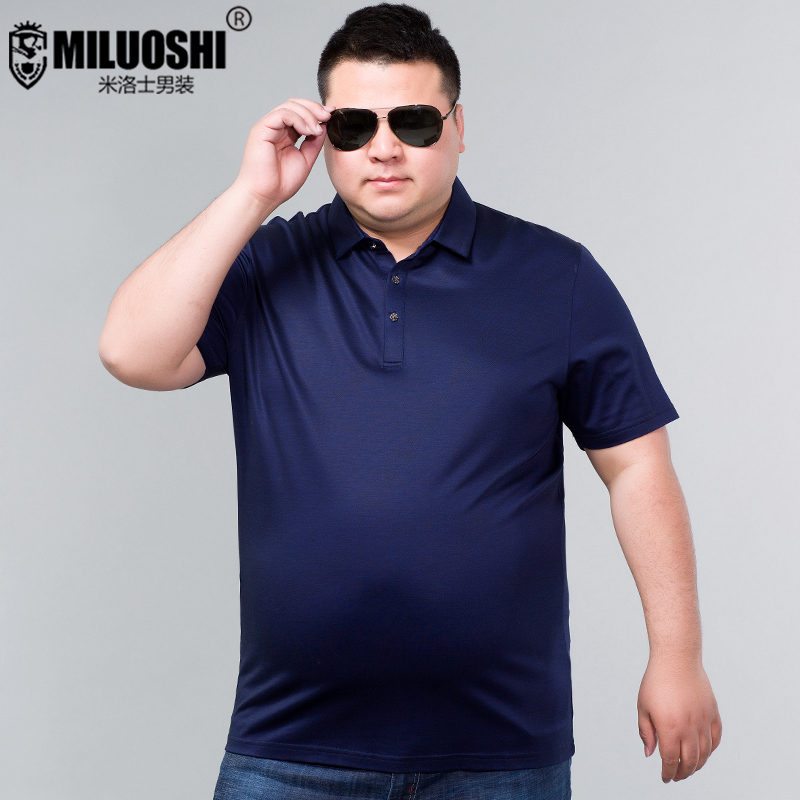 792ae3fc4da Plus fertilizer to increase the size of short-sleeved T-shirt men s summer  thin loose fat guy half-sleeve business casual silk POLO shirt fat