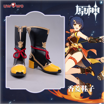 taobao agent Spot youwowo original god Xiangling cosplay props shoes boots 5CM high heels leather shoes female high tube