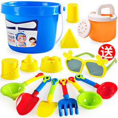 Children's beach toys set car large hourglass dredging shovel bucket cassia boy baby playing with sand tools