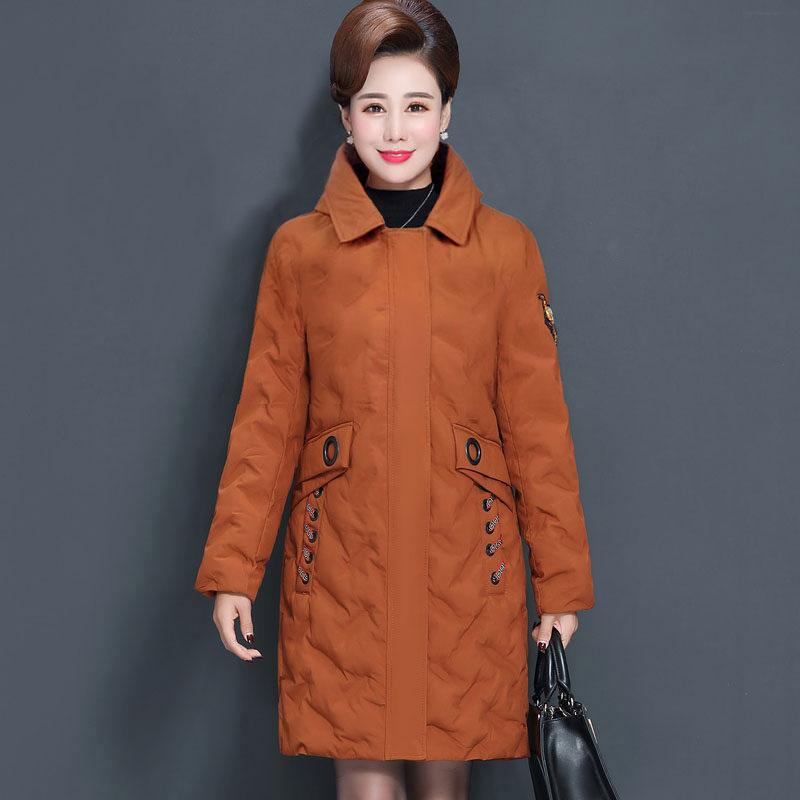 巴宝兹40-50岁中年妈妈装棉衣中老年女装冬季中长款修身棉服外套