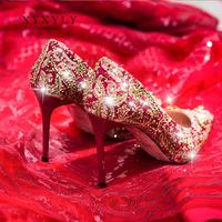 Xiuhe обувь свадебная обувь женская 2019 новая коллекция китайский стиль красный башмак красный свадебное на высоком каблуке Каблук обуви новый Женская обувь