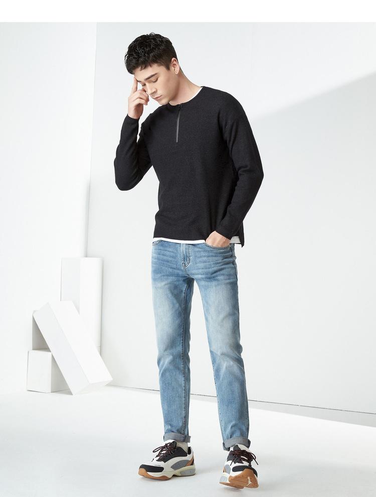 Áo len cổ tròn dây kéo áo thun top thu đông thương hiệu áo len mỏng không cổ dài tay áo thun nam nửa hở - Kéo qua