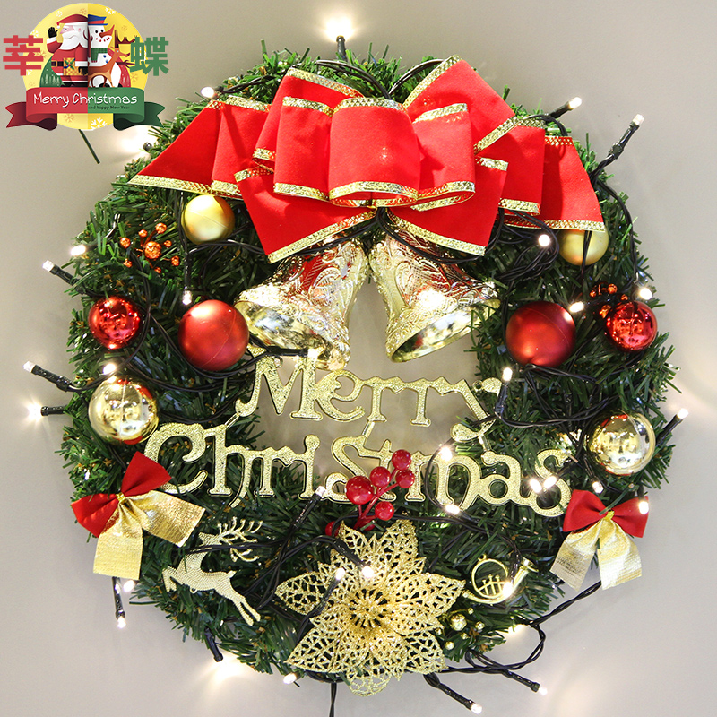 christmas decorations creative lights 40cm christmas wreath hotel restaurant door hanging wreath - Restaurant Christmas Decorations