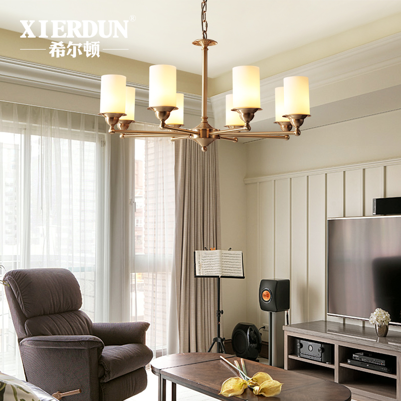 Hilton Full Copper Rustic Minimalist Living Room Dining Study Glass Lampshade Lamps American Chandeliers