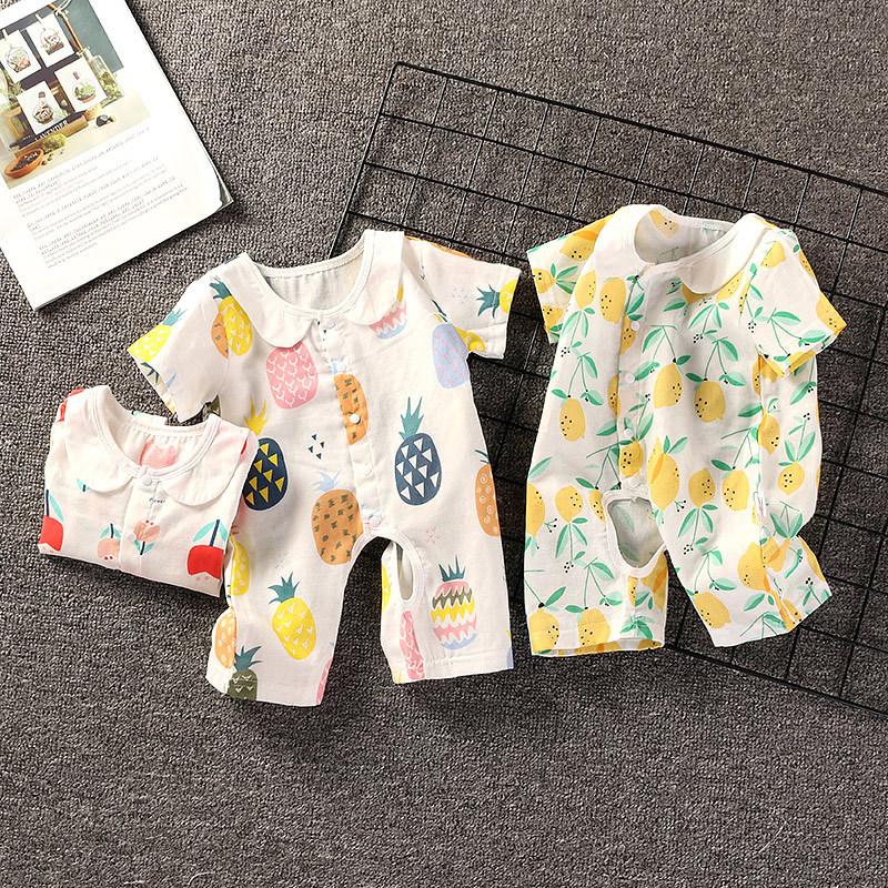 純棉紗布寶寶短袖連體衣夏季嬰兒哈衣薄款男女寶寶開檔短褲衣服