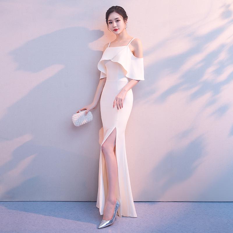时尚一字肩礼服香槟色长款修身显瘦鱼尾礼服宴会晚礼服2018夏新款