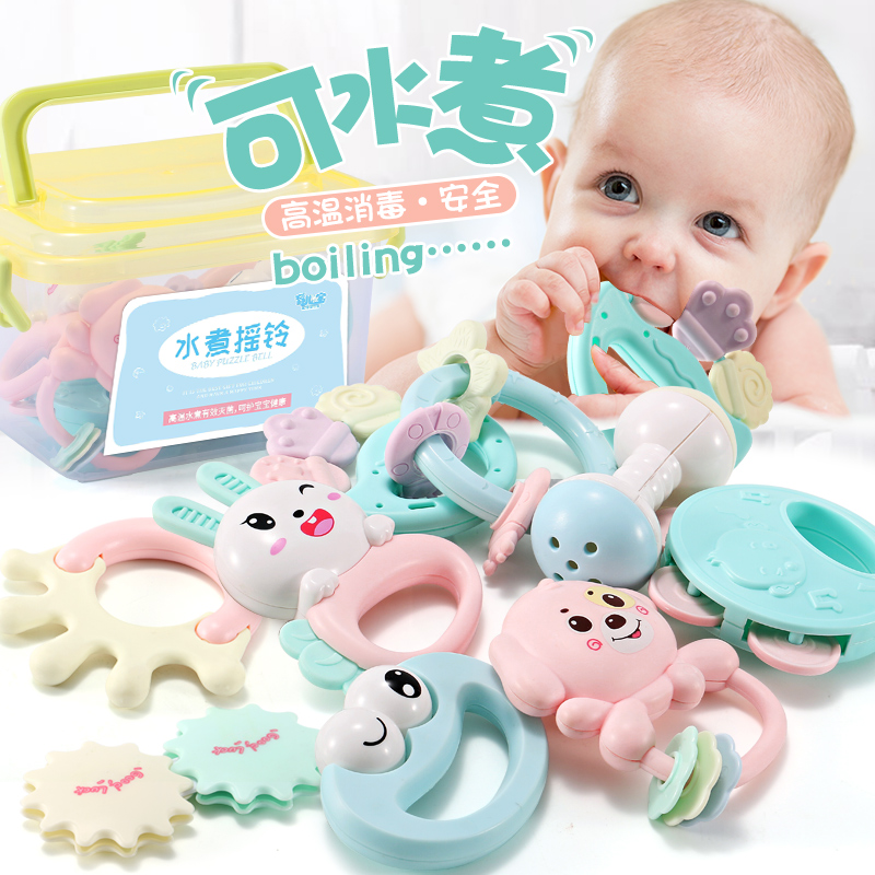 Can be boiled rattle toys 0-1 years old baby hand 9 hand 5 baby