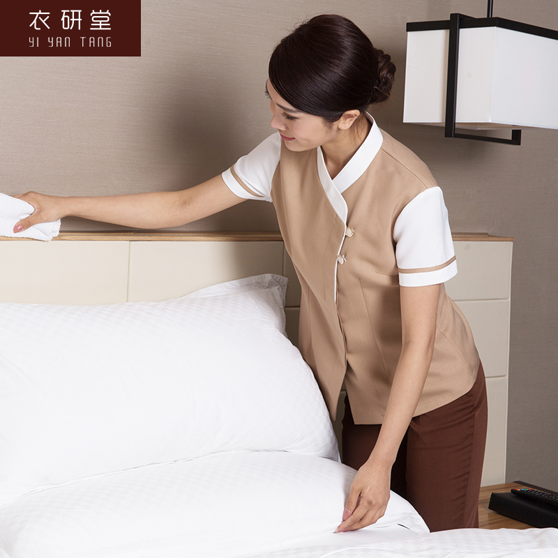 Clothes Study Hall Hotel Cleaning Overalls Short Sleeved Dining Aunt Clothing Summer Dress Room Attendant Female