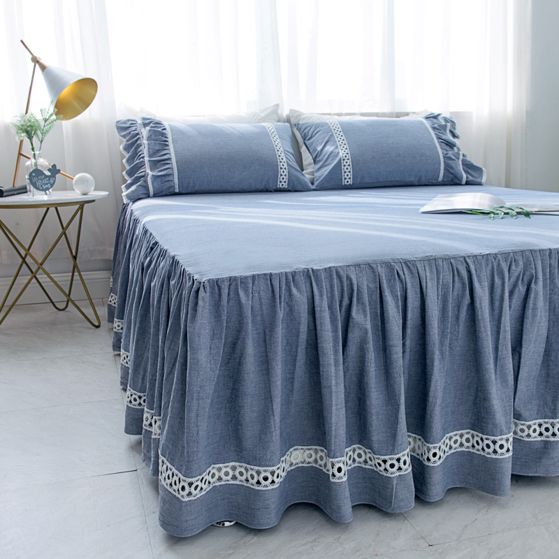 Sheets With Bed Skirt Three Piece Cotton Linen Washed Single Super Soft Bare Sleeping Bedspread Clearance