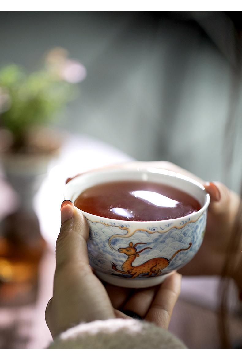 Qin Qiuyan the teacher bucket color is dark water benevolent grain single cup of jingdezhen ceramics by hand kung fu tea cups