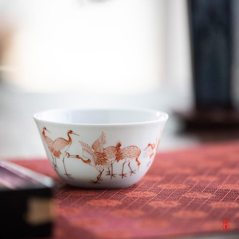 Longevity of art hall, six cranes of jingdezhen checking ceramic cups master cup kung fu tea sample tea cup