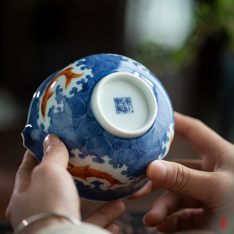 Qin Qiuyan color blue and red sea lines just a cup of pure checking porcelain of jingdezhen ceramic cups of tea ware