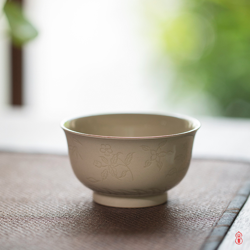 Sprawling hand cup jingdezhen up a fold flowers pressure checking ceramic cups masters cup kung fu tea set