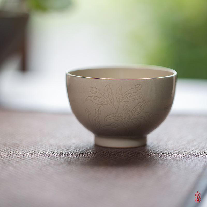 Sprawling up recent round belly of jingdezhen checking ceramic cups master cup kung fu tea set
