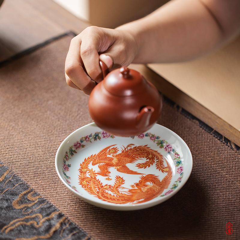 Right as wen - hua liu alum red figure pot bearing jingdezhen ceramic pot bearing kung fu tea set ceramic dry tea tray