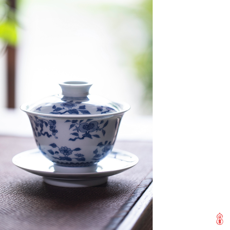 Poly real rings don hand - made jingdezhen blue and red fruit only three tureen checking high - end orphan works covered bowl bowl tea sets