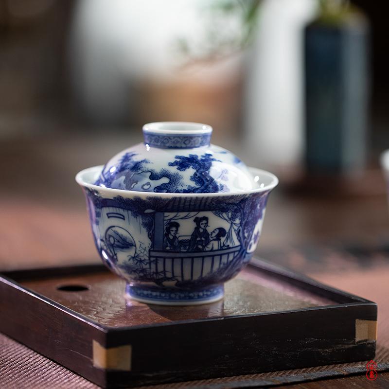 Jingdezhen blue and white, the story of western garden arborist benevolence tureen pure manual tureen tea bowl bowl two tureen