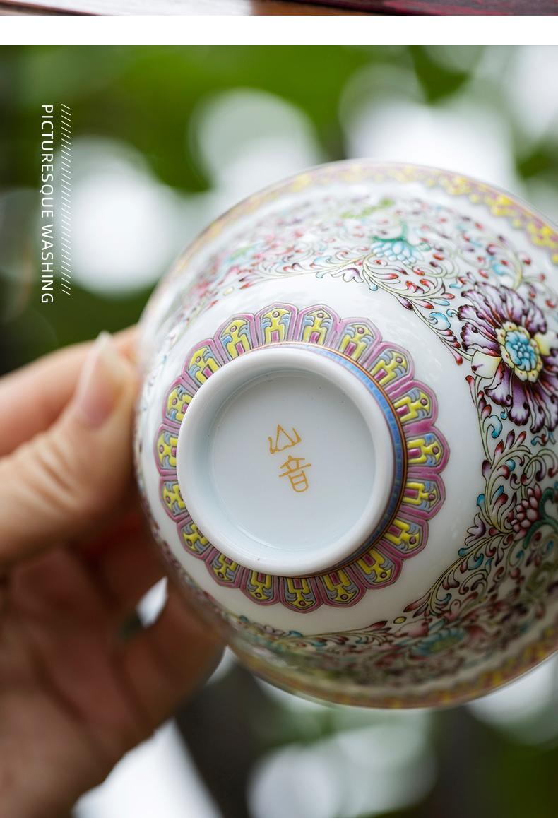 金盏垂莲如意缠枝莲满花三才盖碗景德镇纯手工绘画陶瓷盖碗单个