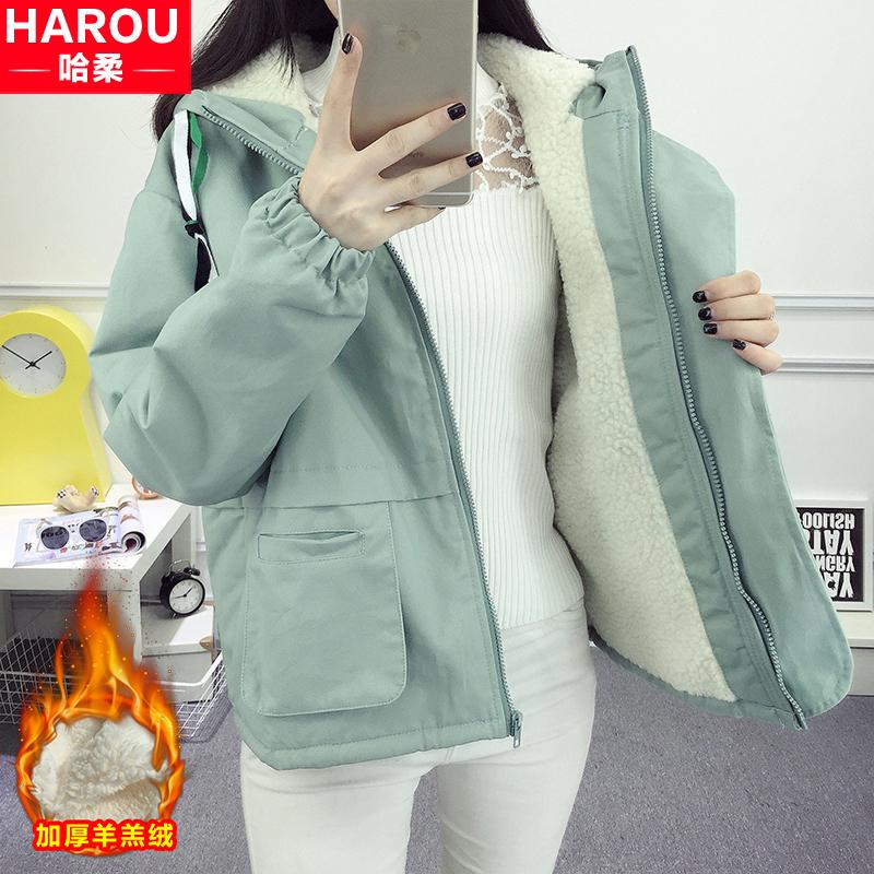 加绒加厚棉衣外套女2019新款冬装初中高中学生韩版短款羊羔毛棉服